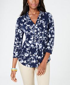 f287a833cc9 Charter Club Floral V-Neck Top, Created for Macy's - Tops - Women -