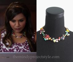 """Mindy's cute and colorful necklace from """"Stay At Home MILF""""!J.Crew Crystal Foliage Necklace (was $128, from $79.99 on ebay)"""