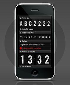 Flight Check - concept iPhone app for checking worldwide flights   Designer: Leigh Hibell of Made Digital - http://www.madedigital.co.uk/#/flightapp