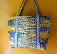 Handwoven tote bag using plastic bags for the weft, inkle weaving for the strap. - Weaving Today