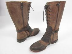 SIREN BY MARK NASON Brown Distressed Leather Lace Up Knee High Boots Shoes Sz 9 at www.ShopLindasStuff.com
