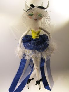 WHITE FRENCH DEER soft sculpture Ooak cloth doll by Kaeriefaerie52, $75.00