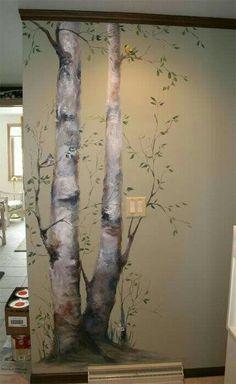 Garden wall mural ideas, love it! Faux Painting, Mural Painting, Mural Art, Wall Art, Tree Wall Painting, Wall Paintings, Room Decor, Wall Decor, Wall Treatments
