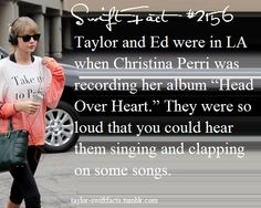 That is so adorable . I love all three of them so much! I will have to listen to the album songs much harder to see if I can hear Taylor and Ed lol. Taylor Swift Funny, Taylor Swift Hair, Taylor Swift Facts, Taylor Swift Quotes, Taylor Alison Swift, Celebrity Weddings, Celebrity News, Christina Perri, Red Taylor