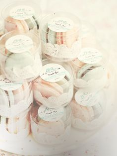 beautifully packaged macaroon favors by bossacafez
