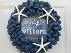 Starfish wreath Beach wreath Nautical wreath by ChloesCraftCloset