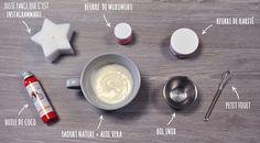 Masque naturel anti pointes sèches aux beurres de karité, de murumuru, au gel d'aloe vera et à l'huile de coco.  #Aromatherapie #BeauteNaturelle #MasqueCheveux #AloeVera #Karite #Murumuru #Coco