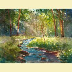 Acuarela paisaje pintura impresión creek y árbol verano árboles con agua de arroyo reproducción poster 8 x 10
