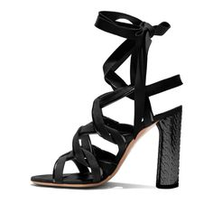 Evening ($985) ❤ liked on Polyvore featuring shoes, sandals, black embellished sandals, black sandals, special occasion sandals, block heel sandals and black shoes