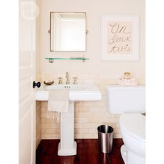 """Style at Home on Instagram: """"Take a peek inside @jillian.harris's dreamy powder room and learn how to recreate the look in your own home, visit styleathome.com! {Photo: @pineconecamp}"""""""