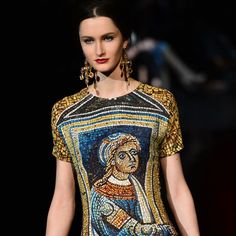 A model displays a creation as part of Dolce & Gabbana Fall-Winter 2013-2014 Womenswear collection during the Women's fashion week in Milan