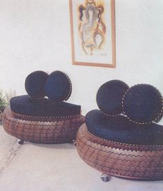 Tire furniture (I would use this concept for outdoor furniture). These tires are painted to look similar to wood. #Recycle #Re-tire #rubberofftheroad