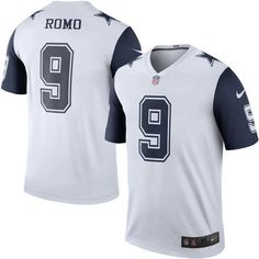 Cowboys Mens Tony Romo Nike Color Rush Legend Jersey – White 40f5edb39