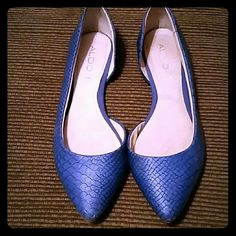 Aldo blue flats size 8 Worn once see pics for minor wear. Sole looks like its coming up in one section but it's not ALDO Shoes Flats & Loafers