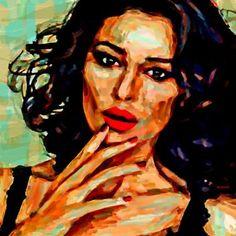 "Saatchi Art Artist ACQUA LUNA; Painting, ""62-Primer plano. Monica Bellucci."" #art"
