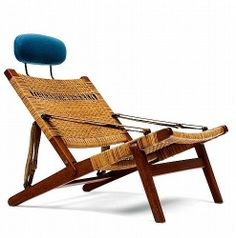 H. Brockmann-Petersen; Teak, Cane and Leather 'Hunting' Armchair with Head Rest for Louis G. Thiesen & Son, c1960.