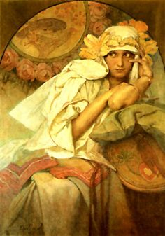 Page: Muse    Artist: Alphonse Mucha    Style: Romanticism    Genre: mythological painting    Tags: female-portraits