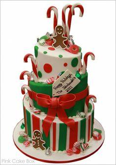 half baked - pink cake box - christmas - christmas cake - gingerbread man and candy canes cake Christmas Cake Designs, Christmas Sweets, Christmas Goodies, Christmas Candy, Christmas Baking, Merry Christmas, Reindeer Christmas, Christmas Birthday, Happy Birthday