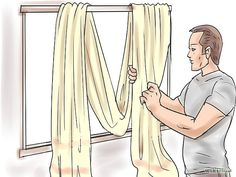 How to Drape Window Scarves. A window scarf, smartly hung, can highlight an entire room. It is like that final accessory that sets off the whole outfit. Use a window scarf to cover up a curtain rod, or install scarf hooks to hang a window. Window Swags, Valance Window Treatments, Window Treatments Living Room, Window Coverings, Picture Window Curtains, Window Trims, Small Window Curtains, Treatment Rooms, Scarf Curtains