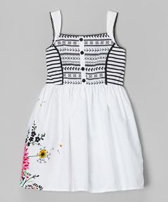 Look at this #zulilyfind! Black & White Floral Babydoll Dress - Toddler & Girls by Sugah & Honey #zulilyfinds