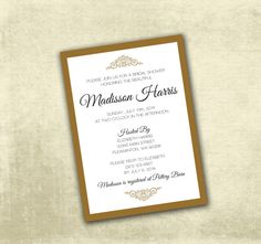 Printable Bridal Shower | OR | Birthday Invitation PDF - Classic Elegant Black & Gold (Or Your Choice in Colors)