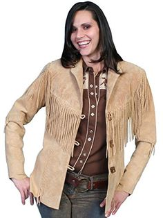 Features. Boar suede fringe jacket designed to flatter.. Hip length.. Long fringe accented on front and back yokes.. Hand-laced trim on seams front and back.. W...