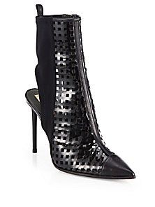 Reed Krakoff Perforated Black Patent Leather Ankle Boots 2013 $850 #Booties #Heels