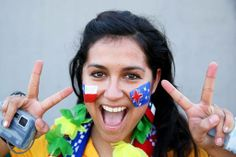 CUIABA, BRAZIL - JUNE 13:  An Australia fan enjoys the atmosphere prior to the 2014 FIFA World Cup Brazil Group B match between Chile and Australia at Arena Pantanal on June 13, 2014 in Cuiaba, Brazil.