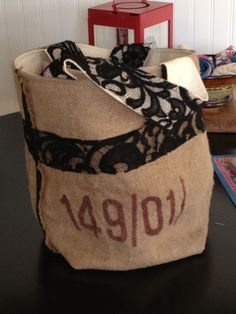 An upcycled coffee bean sack!