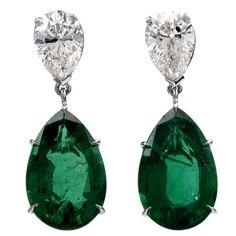GIA Certified 17.31 Carat Emerald Diamond Platinum Dangle Earrings | 1stdibs.com