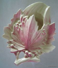 1950s McCOY Pottery LEAF & BERRIES Red, Pink Ashtray / Wall Pocket | eBay