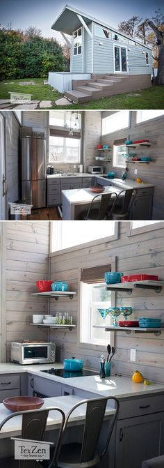 The bright and spacious Open Concept was built by Austin, Texas-based TexZen Tiny Home Co. and features a large kitchen with wrap-around counter.