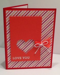 Stampin Up Valentines Day Card, Heart Punch, Love, Valentine
