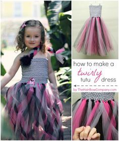 I am so in love with this twirly tutu dress. Tutu dresses can look complicated but they are usually pretty darn easy. This dress is a simple tutu dress with the strands lightly braided. Diy Tutu Skirt, Crochet Tutu Dress, Diy Dress, Tutu Skirt Kids, Bow Skirt, Party Dress, Tulle Projects, Tulle Crafts, No Sew Tutu