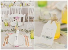 Chic spring wedding table decoration with grey and olive colour scheme and copper cutlery. Limoncello wedding favours. Destination wedding at Seaside Restaurant Lefkada Greece
