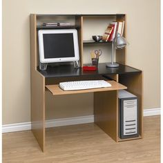 orion computer desk with hutch black and oak - Desks With Bookshelves