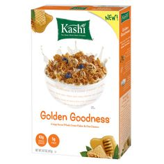 Best quick at-home picks No. 1 Kashi Golden Goodness Cereal  This brand-new blend of crispy flakes and clusters give you almost a full day's serving of whole grains in one bowl—impressive, Dr. Gerbstadt says. Also exceptional: One serving has as much protein as a large egg.   Calories 210; Fat 1.5g; Protein 6g; Carbohydrate 49g; Fiber 5g; Sodium 180mg (for a 1 1/4-cup serving)