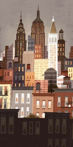 alley cats and drifters: NYC skyline by Jamey Christoph...love the water towers and color palette!
