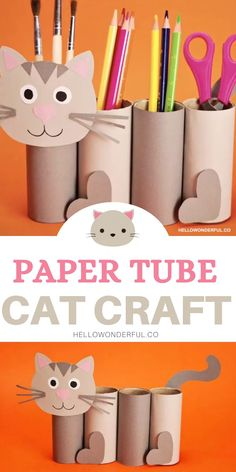Toilet Paper Crafts, Paper Crafts For Kids, Cat Crafts, Craft Activities For Kids, Preschool Crafts, Diy For Kids, Painting Activities, Cardboard Crafts, Animal Crafts