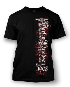 Harley-Davidson® Men's Limited Edition 110th Anniversary Blackletter T-Shirt, Black. 30291760