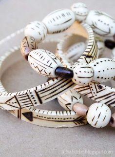 Wood-burned bracelets (Alisa Burke)