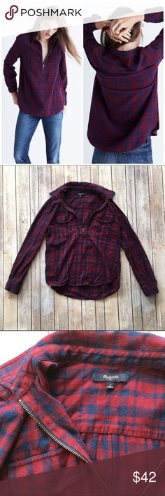 Madewell Flannel Zip Front Popover Shirt Plaid This is a SUPER cute collared popover from Madewell in McKinley Plaid! Trendy and soft! Has some lint/dog hairs and some light pilling, but otherwise great pre-loved condition!   🚫no trades 🚫no modeling ✅dog friendly/🚭smoke free home ✅reasonable offers ✅bundle & save! Madewell Tops