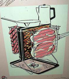'Hang It All' vertical, flippable, portable barbecue grill - super cute graphics - Retro Renovation Portable Barbecue, Barbecue Grill, Grilling, Diy Grill, Grill Oven, Barbecue Design, Grill Design, Fire Crafts, Retro Renovation