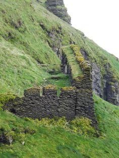 Tintagel Castle Ruins. high on the rugged North Cornwall coast England