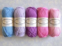 100% Algodón hilados 5 púrpura colores Granny Kit listo para enviar por CrochetObjet