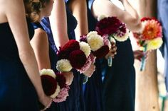 Mini bouquets with red dahlias and mums.