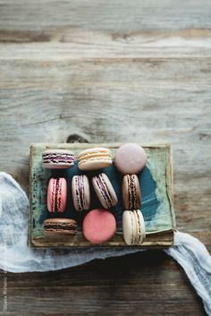 Macaroons on a book.