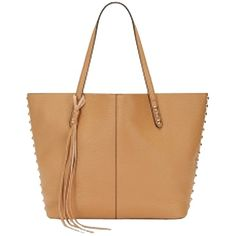 Pre-owned Rebecca Minkoff - Unlined Cuoio / Beige Tote Bag ($225) ❤ liked on Polyvore featuring bags, handbags, tote bags, zippered tote bag, shopping tote, leather tote, leather coin pouch and leather zip tote