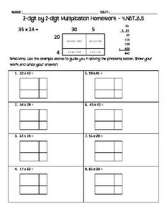 This homework goes with 4.NBT.5.B (multiplying 2-digit by 2-digit numbers using place value strategies). This goes well with my other sheets, but preserves the scale of the numbers on the blank area models. This is a good follow up to my product : Common Core Aligned - 2-digit by 2-digit multiplication using arrays homework
