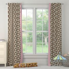 Custom drapes in Italian Brown Embrace, Bright Pink Dot.  Created using the Drape Designer by Carousel Designs